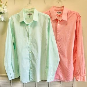 Express Lot of 2 Slim Fitted Men's Shirts S. Large